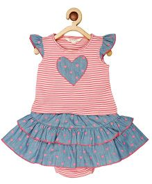 My Lil Berry Flutter Sleeves Top And Bloomers Set - Pink Blue