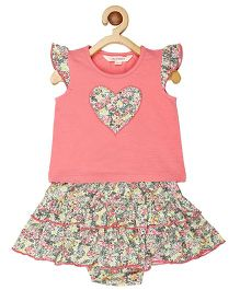 My Lil Berry Flutter Sleeves Top And Bloomers Set Floral Print - Pink Multi Color