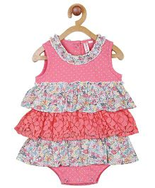 My Lil Berry Sleeveless Printed Frock Style Onesie With Frills - Pink