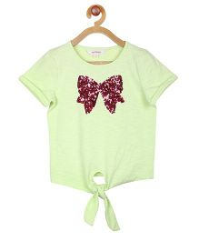 My Lil Berry Half Sleeves Tie Front Tee Bow Embellishment - Light Lemon Green