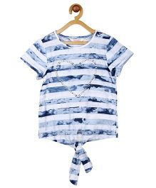 My Lil Berry Half Sleeves Tie Front Tee Heart Embellished - Blue & White