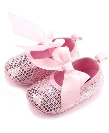Dazzling DollsSequined Pre-Walker Shoes With Bow - Pink