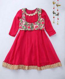 Shruti Jalan Kurta With Embroidered Jacket & Leggings - Pink