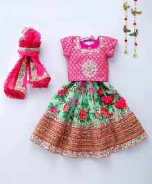 Shruti Jalan Brocade Blouse With Hand Embroidery Ghagra & Dupatta - Pink & Green