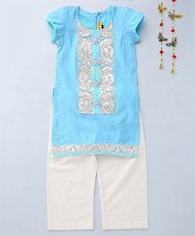 Shruti Jalan Contrast Work Kurta With Palazzos - Light Blue