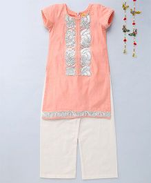 Shruti Jalan Contrast Work Kurta With Palazzos - Peach