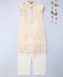Shruti Jalan Straight Fit Kurta With Pallazzo - Cream