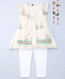 Shruti Jalan Floral Embroidered Kurta With Inner & Leggings - Cream