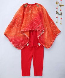 Shruti Jalan Kurta Set With Leggings & Cape Style Poncho - Red