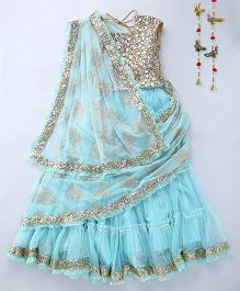 Shruti Jalan Stitched Saree With Embroidered Blouse - Blue