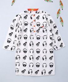 Shruti Jalan Black Headphone Printed Kurta With Pocket Square - Off White