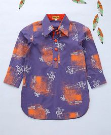 Shruti Jalan Printed Shirt Style Kurta - Blue