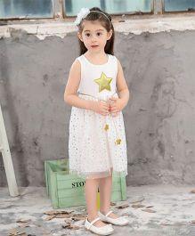 Pre Order - Awabox Glitter Star Applique Dress - White