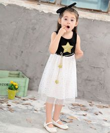 Pre Order - Awabox Glitter Star Applique Dress - Black