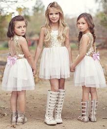 Pre Order - Awabox Shimmery Yoke With Cut Heart Back Dress - Golden & White