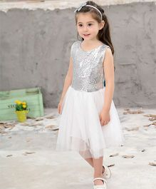 Pre Order - Awabox Shimmery Yoke With Cut Heart Back Dress - Silver