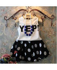 Pre Order - Awabox Polka Dot Skirt & T-Shirt Set - White & Black