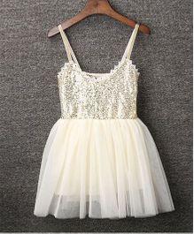 Pre Order - Awabox Shimmer Yoke Party Dress - Beige