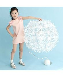 Pre Order - Awabox Flower Applique On Shoulder Dress - Pink