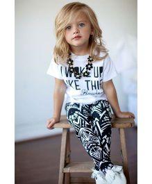 Pre Order - Awabox Abstract Print Leggings & T-Shirt Set - White & Navy
