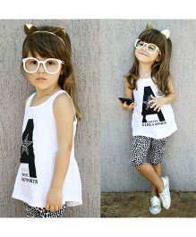 Pre Order - Awabox Tiger Print Pajama & Tee - White & Black