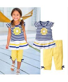 Pre Order - Awabox Stripe Tee & Capri Set - White Blue & Yellow