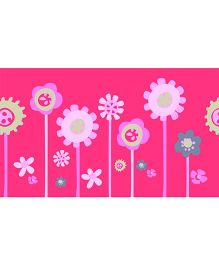 Home Decor Line Flowers Wall Stickers - Dark Pink