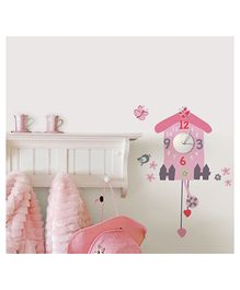 Home Decor Line Bird Cage Wall Sticker - Pink