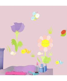 Home Decor Line Smiling Flowers Wall Sticker - Pink & Purple