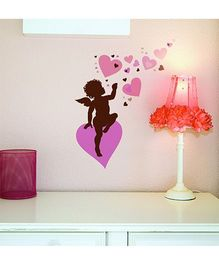 Home Decor Line Cupid Wall Sticker - Pink Brown