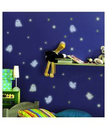Home Decor Line Glow In Dark Ghost Wall Sticker - Purple Blue Yellow
