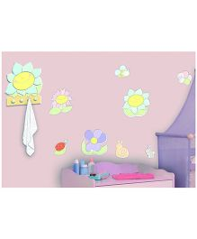 Home Decor Line Smiling Flowers Foam Wall Sticker - Green Yellow