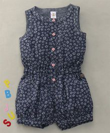 Bee Born Flower Print Sleeveless Jumpsuit - Navy Blue