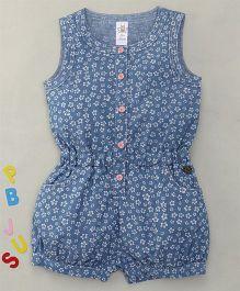 Bee Born Flower Print Sleeveless Jumpsuit - Sky Blue