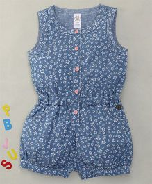 Bee Born Flower Print Sleeveless Jumpsuit - Sky Blue