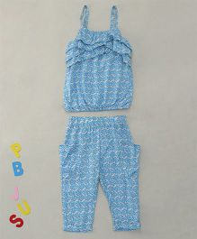 Bee Born Singlet Top & Pant With 2 Pockets - Blue