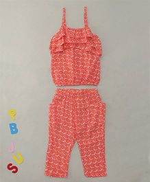 Bee Born Singlet Top & Pant With 2 Pockets - Orange