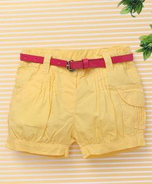 Bee Born Trendy Shorts with Belt - Yellow