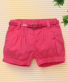 Bee Born Trendy Shorts with Belt - Dark Pink
