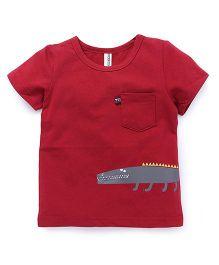 Baobaoshu Crocodile Print Tee - Maroon