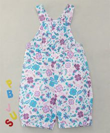 Bee Born Attractive Floral Print Dungaree - White & Acid Blue