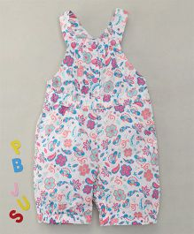 Bee Born Attractive Floral Print Dungaree - White & Rose Pink