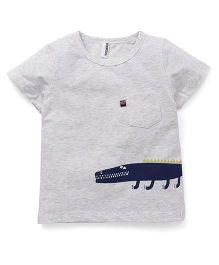 Baobaoshu Crocodile Print Tee - Grey & Navy Blue
