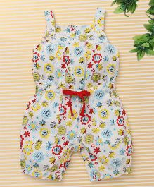 Bee Born Unique Flower Print Jumpsuit - White & Yellow