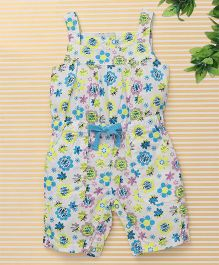 Bee Born Unique Flower Print Jumpsuit - White & Blue
