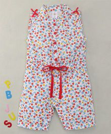 Bee Born Mini Flowers Print Jumpsuit - Red & White