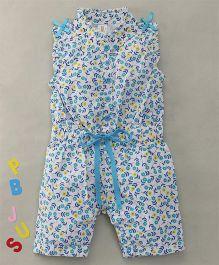 Bee Born Mini Flowers Print Jumpsuit - White & Blue