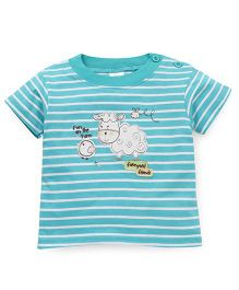 Baby Yi Striped Print Crew Neck Tee - Aqua Blue