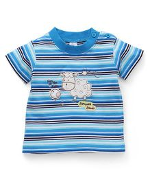 Baby Yi Fun On The Farm Embroidered Tee - Blue