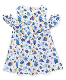 The KidShop Fresh Strawberry Print Cold Shoulder Dress - Blue